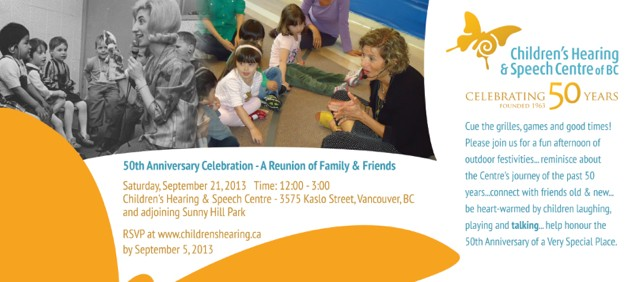 Invitation to Children's Hearing & Speech Center of BC Reunion